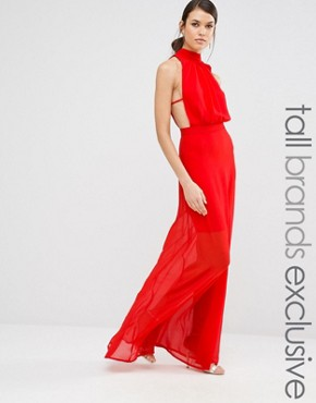 photo Exclusive High Neck Open Back Maxi Dress by Missguided Tall, color Red - Image 1