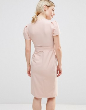 photo Wrap Tea Midi Dress by Alter Petite, color Blush - Image 2