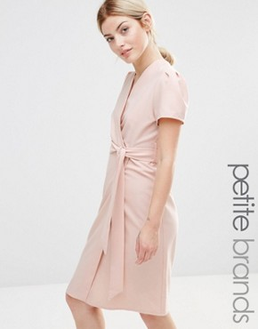 photo Wrap Tea Midi Dress by Alter Petite, color Blush - Image 1