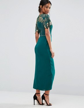 photo Wrap Front Embellished Midi Dress by Virgos Lounge, color Green - Image 2