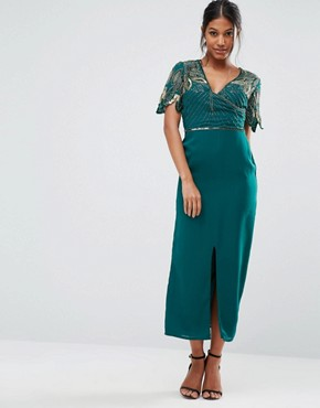 photo Wrap Front Embellished Midi Dress by Virgos Lounge, color Green - Image 1