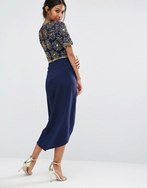 photo Embellished Midi Dress with Ruched Tulip Skirt by Virgos Lounge, color Navy - Image 2