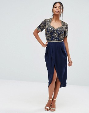 photo Embellished Midi Dress with Ruched Tulip Skirt by Virgos Lounge, color Navy - Image 1