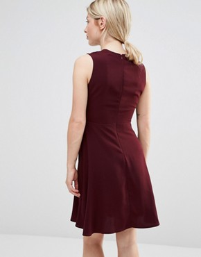photo Ruffle Pocket Pinafore Dress by Alter Petite, color Burgandy - Image 2