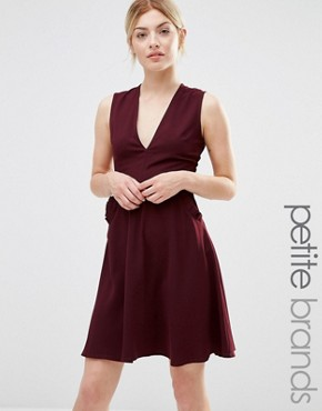photo Ruffle Pocket Pinafore Dress by Alter Petite, color Burgandy - Image 1