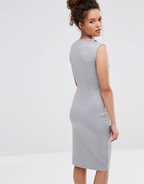 photo V Neck Pencil Midi Dress by Alter Petite, color Light Grey - Image 2
