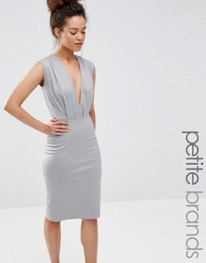 photo V Neck Pencil Midi Dress by Alter Petite, color Light Grey - Image 1