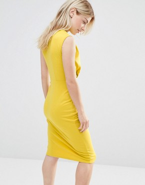 photo V Neck Pencil Midi Dress by Alter Petite, color Yellow - Image 2