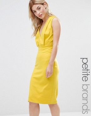 photo V Neck Pencil Midi Dress by Alter Petite, color Yellow - Image 1