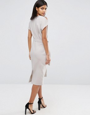 photo Belted Midi Dress with Split Cap Sleeve and Pencil Skirt by ASOS, color Grey - Image 2