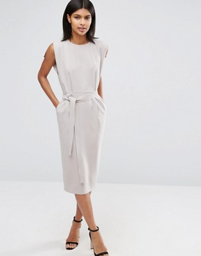 photo Belted Midi Dress with Split Cap Sleeve and Pencil Skirt by ASOS, color Grey - Image 1