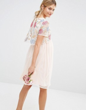 photo All Over Rose Embellished 2 In 1 Skater Dress by Maya Maternity, color Pink - Image 2