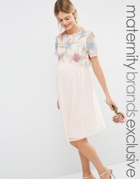 photo All Over Rose Embellished 2 In 1 Skater Dress by Maya Maternity, color Pink - Image 1