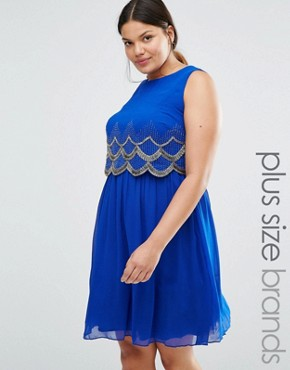 photo Scallop Embellished Sleeveless Skater Dress by Lovedrobe Luxe, color Blue - Image 1