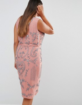 photo All Over Embellished Midi Dress with Wrap Detail Skirt by Lovedrobe Luxe, color Pink - Image 2