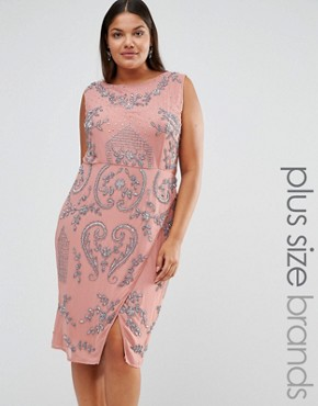 photo All Over Embellished Midi Dress with Wrap Detail Skirt by Lovedrobe Luxe, color Pink - Image 1