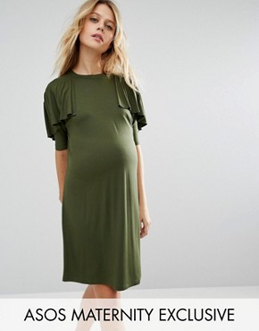 photo T Shirt Dress with Ruffle by ASOS Maternity, color Green - Image 1
