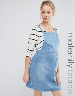 photo Denim Pinny Dress by New Look Maternity, color Blue - Image 1