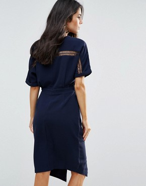 photo Kimono Sleeve Sheath Dress by Adelyn Rae, color Navy - Image 2