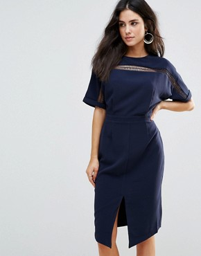 photo Kimono Sleeve Sheath Dress by Adelyn Rae, color Navy - Image 1