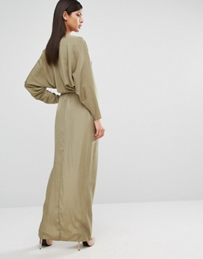 photo Marvey Drape Maxi Dress by AQ/AQ, color Dusky Green - Image 2