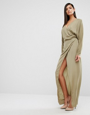 photo Marvey Drape Maxi Dress by AQ/AQ, color Dusky Green - Image 1