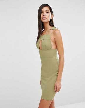 photo Sibby Cut Out Dress by AQ/AQ, color Dusky Green - Image 1