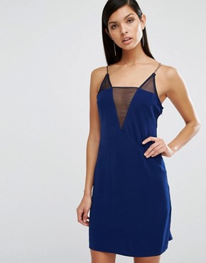 photo Montana Deep V Mesh Mini Dress by AQ/AQ, color Parriot Blue - Image 1