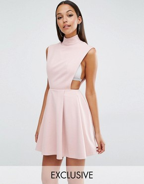 photo Sorah High Neck Mini Dress by AQ/AQ, color Dust Pink - Image 1