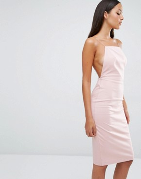 photo Cartney Open Back Midi Dress by AQ/AQ, color Dust Pink - Image 2