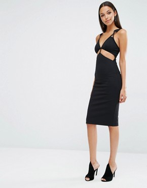 photo King Cut Out Midi Dress by AQ/AQ, color Black - Image 1