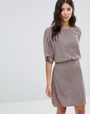 photo Junly Printed Waisted Dress by b.Young, color Blush - Image 1