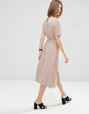 photo Tie Front Midi Dress by ASOS, color Oatmeal - Image 2
