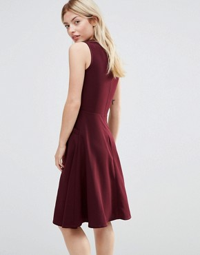 photo Ruffle Pocket Pinafore Dress by Alter, color Burgandy - Image 2