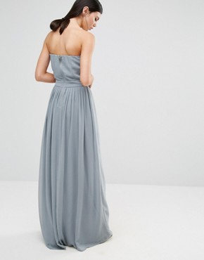 photo Embroidered Bandeau Maxi Dress by Maya Tall, color Dove Grey - Image 2