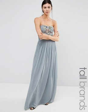 photo Embroidered Bandeau Maxi Dress by Maya Tall, color Dove Grey - Image 1