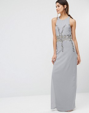 photo Embellished Maxi Dress with Open Back by Maya Tall, color Dove Grey - Image 2