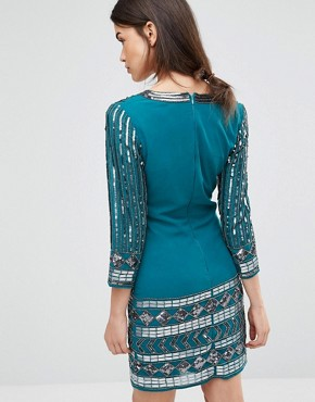 photo Dress with Scoop Neck and Heavy Embellishment by Maya Tall, color Emerald - Image 2