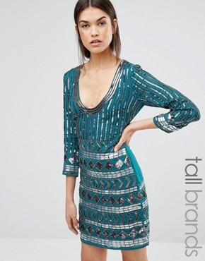 photo Dress with Scoop Neck and Heavy Embellishment by Maya Tall, color Emerald - Image 1