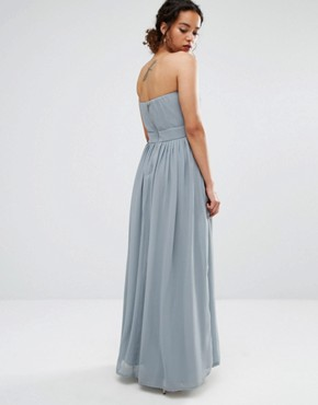 photo Embroidered Bandeau Maxi Dress by Maya Petite, color Dove Grey - Image 2
