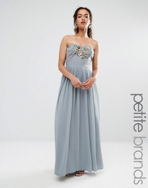 photo Embroidered Bandeau Maxi Dress by Maya Petite, color Dove Grey - Image 1