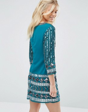 photo Dress with Scoop Neck and Heavy Embellishment by Maya Petite, color Emerald - Image 2
