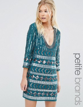 photo Dress with Scoop Neck and Heavy Embellishment by Maya Petite, color Emerald - Image 1