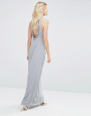 photo Embellished Maxi Dress with Open Back by Maya Petite, color Dove Grey - Image 2