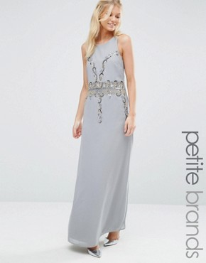 photo Embellished Maxi Dress with Open Back by Maya Petite, color Dove Grey - Image 1