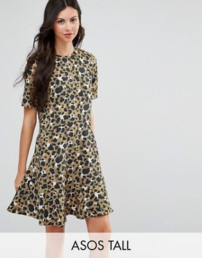photo Drop Waist Dress In Animal Print by ASOS TALL, color  - Image 1