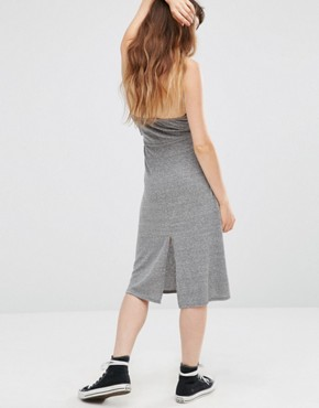photo Elysia Halter Dress with Plunge Front by NYTT, color Heather Grey - Image 2