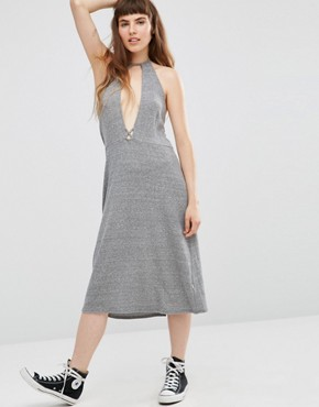 photo Elysia Halter Dress with Plunge Front by NYTT, color Heather Grey - Image 1