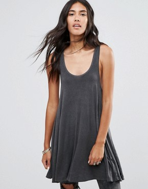 photo Happy Oversize Racer Back Swing Dress by NYTT, color Black - Image 1