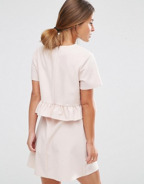 photo Short Sleeve Double Layer Ruffle Dress by ASOS PETITE, color Blush - Image 2